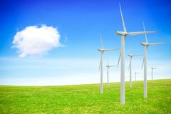 Renewable energy sources. Windmills farm Royalty Free Stock Images