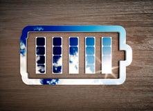 Renewable energy storage sign on dark wooden desk Stock Photography