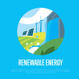 Renewable energy. Sun, water and wind power Stock Photography