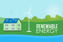 Renewable energy. Sun and wind generation Royalty Free Stock Photography