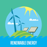 Renewable energy. Sun and wind power generation stock illustration