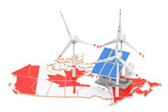 Renewable energy and sustainable development in Canada, concept. 3D rendering isolated on white background Royalty Free Stock Image