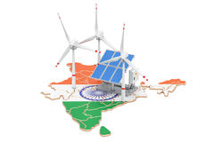 Renewable energy and sustainable development in India, concept. 3D rendering on white background stock illustration