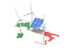 Renewable energy and sustainable development in Italy, concept. 3D rendering isolated on white background vector illustration