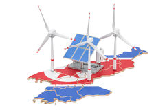 Renewable energy and sustainable development in North Korea, con. Cept. 3D rendering isolated on white background stock illustration