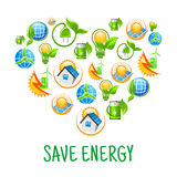 Renewable energy symbols shaped as heart Royalty Free Stock Images
