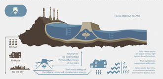 Renewable energy from tidal energy illustrated. Infographics Stock Photo