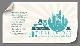Renewable energy from tidal energy templates infographics. Renewable energy from tidal energy paper templates infographics royalty free illustration