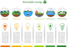 Renewable energy types. Power plant icons vector set. Renewable alternative solar, wind, hydro, biofuel, geothermal, tidal energy . Useful for layout, banner royalty free illustration