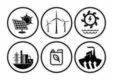 Power plant icons vector set. Renewable energy types isolated white background. Icon concept in illustrator vector, so easy to use Royalty Free Stock Image