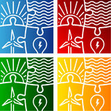 Renewable energy vector sign logo set Royalty Free Stock Images