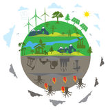 Renewable energy versus traditional energy concept in flat design royalty free illustration