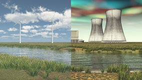 Renewable energy vs. nuclear energy Royalty Free Stock Photography