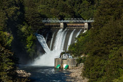 Renewable Energy. Water been release out of a New Zealand hydro power dams Stock Images