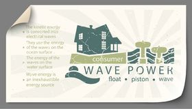 Renewable energy from wave power templates infographics. Renewable energy from wave power paper templates infographics vector illustration