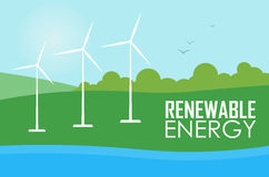Renewable energy. Wind generator turbines. Renewable energy raster illustration. Three white wind generator turbines on river bank. Green energy concept Stock Photography