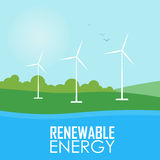 Renewable energy. Wind generator turbines. Renewable energy raster illustration. Three white wind generator turbines on river bank. Windmills for electric power Royalty Free Stock Images