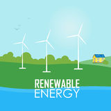 Renewable energy. Wind generator turbines. Renewable energy raster illustration. White wind generator turbines on river bank. House with blue solar panels on the Royalty Free Stock Photos