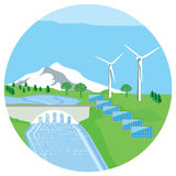 Renewable energy. Wind, solar and hydroelectric renewable power energy illustration royalty free illustration