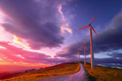 Renewable energy with wind turbines. On mountain Royalty Free Stock Photography