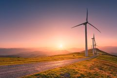 Wind turbines. Renewable energy with wind turbines royalty free stock images