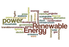 Renewable energy word cloud Stock Images