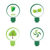Renewable green energy: 4 Light Bulb Royalty Free Stock Image
