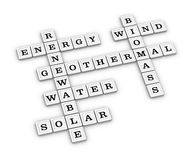 Renewable Green Energy crossword puzzle. Royalty Free Stock Photography