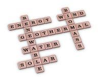 Renewable Green Energy crossword puzzle. Royalty Free Stock Image