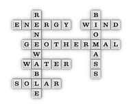 Renewable Green Energy crossword puzzle. Stock Images