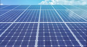 Renewable green energy power solar cell install on roof. With sky reflection Stock Image