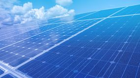 Renewable green energy power solar cell install on roof. With sky reflection Royalty Free Stock Photo
