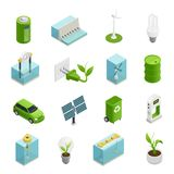 Ecology Energy Isometric Icons Set. Renewable green energy sources technologies symbols and uses variaties isometric icons collection vector illustration stock illustration