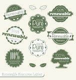 Renewable Resource Labels and Stickers. Collection of vintage style renewable resource labels and badges Royalty Free Stock Images