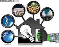 Renewable Resources and House with Light Bulb. Renewable Resources - Hand with work glove holding a model house 3D illustration with a light bulb and five Stock Image