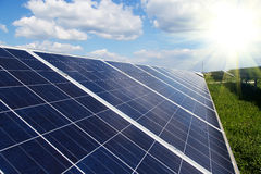 Renewable solar energy with sun Stock Image