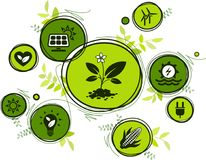 Renewable & sustainable energy sources - water, solar, wind, biomass energy: flat icon illustration. Green sustainability concept with connected renewable energy stock illustration