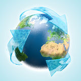 Renewable water. Renewable development concept - Earth globe vector illustration