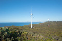 Renewable Wind Energy Western Australia. Wind farm along coast of Southern Ocean in Western Australia, supplying renewable energy to town of Albany, summer sunny Stock Image