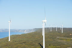 Renewable Wind Farm Energy Australia. Wind farm at coast of Southern Ocean in Western Australia, supplying renewable energy to town of Albany, summer sunny blue Stock Images
