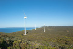 Renewable Wind Power Western Australia. Wind farm along coast of Southern Ocean in Western Australia, producing clean renewable energy to town of Albany, summer Royalty Free Stock Photo