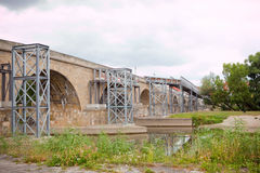 Renewal of medieval stone bridge Royalty Free Stock Images