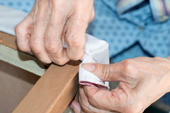 Renewal of the upholstery of a chair Royalty Free Stock Photo