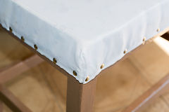 Renewal of the upholstery of a chair Royalty Free Stock Photography