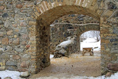 Renewed ruins of Sigulda Old Castle. LATVIA Royalty Free Stock Images