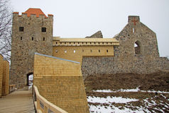 Renewed ruins of Sigulda Old Castle. LATVIA Royalty Free Stock Photo