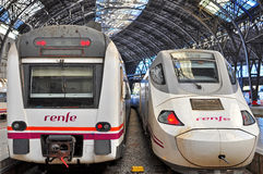 Renfe trains in Barcelona Stock Photos