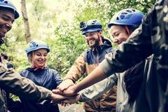 Renforcement d'équipe extérieur dans la forêt photos libres de droits