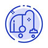 Rengöra som är elektriskt, utrustning, blå prickig linje linje symbol för vakuum stock illustrationer