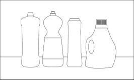 Rengörande flaskor på tabellen vektor illustrationer